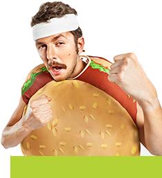guy in hamburger suit