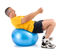man exercising with stability ball